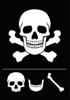 Icône de crâne et os croisés