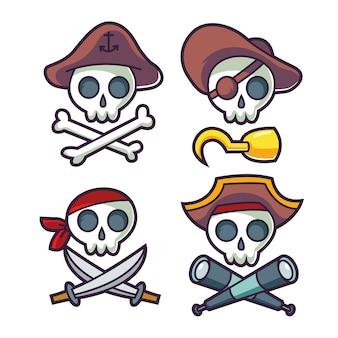 Icône de crâne pirate dessin animé drôle