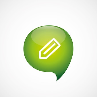 Icône de crayon vert pense logo symbole bulle, isolé sur fond blanc