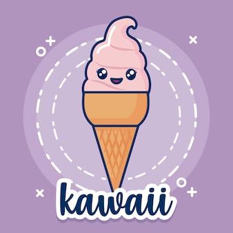 Icône de crème glacée kawaii