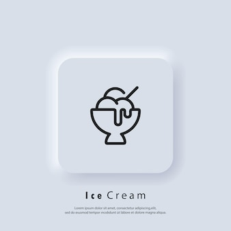 Icône de crème glacée. logo de crème glacée. parfait, yaourt glacé, coupe glacée, vanille, chocolat. vecteur. icône de l'interface utilisateur. bouton web de l'interface utilisateur blanc neumorphic ui ux.