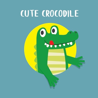Icône de crocodile mignon, illustration