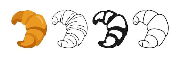 Icône de croissant de pain, ligne et glyphe noir, jeu d'icônes de dessin animé croquis dessiné main boulangerie fraîche