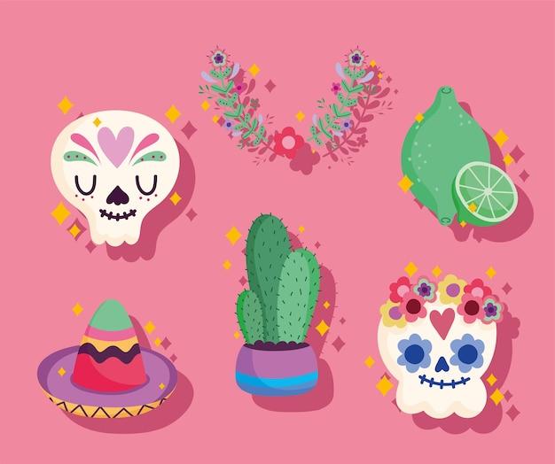 Icône de la culture du mexique sertie de crâne, catrina, cactus, chapeau et citron