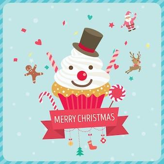 Icône de cupcake bonhomme de neige