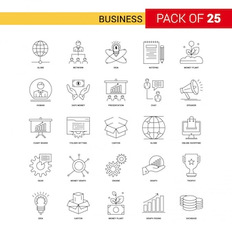 Icône de ligne noire d'affaires - 25 Business Outline Icon Set