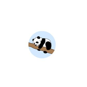 Icône de dessin animé bébé panda endormi