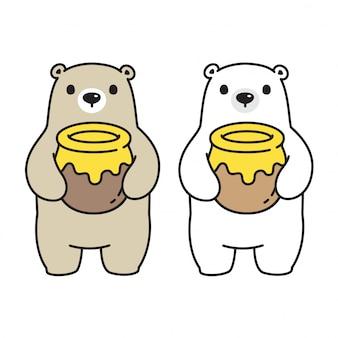 Icône de dessin animé de caractère ours miel polaire