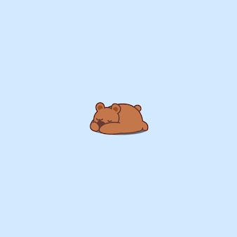Icône de dessin animé endormi d'ours mignon
