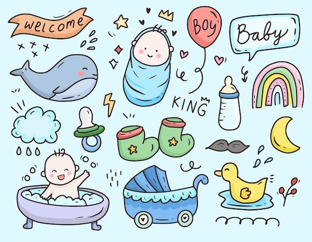 Icône de dessin animé de fête de douche bébé garçon doodle ensemble de collection de dessins