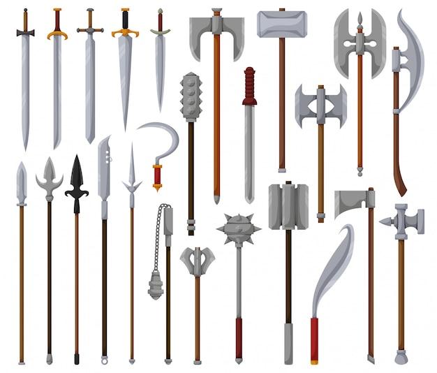 Icône de dessin animé isolé arme médiévale. jeu de dessin animé icône épée de chevalier.