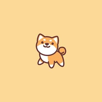 Icône de dessin animé mignon chien shiba inu