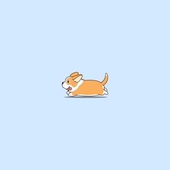 Icône de dessin animé mignon corgi gallois longue queue en cours d'exécution