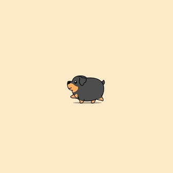 Icône de dessin animé mignon gros chien rottweiler marche