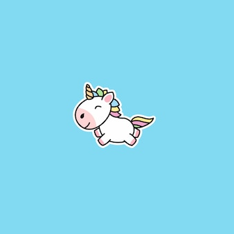Icône de dessin animé mignon licorne