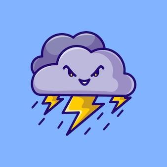 Icône de dessin animé mignon nuage de foudre mascotte illustration vectorielle