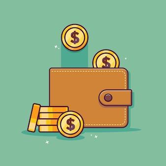 Icône de dessin animé de portefeuille et d'argent avec le concept d'économie d'argent
