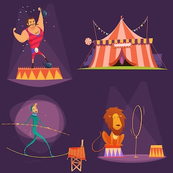 Icône de dessin animé rétro cirque sertie d'illustration vectorielle de lion tente acteur gymnaste