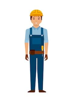 Icône de dessin animé de travailleur de construction