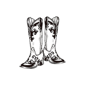 Icône de dessin mode cowboy boot