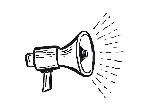 Icône dessinée à la main de haut-parleur icône d'annonces de monétisation