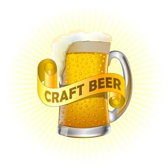 Icône dessinée réaliste de bière artisanale.