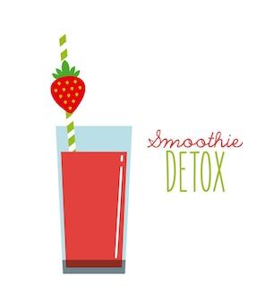 Icône detox aux fraises. smoothie et juice design. graphique de vecteur