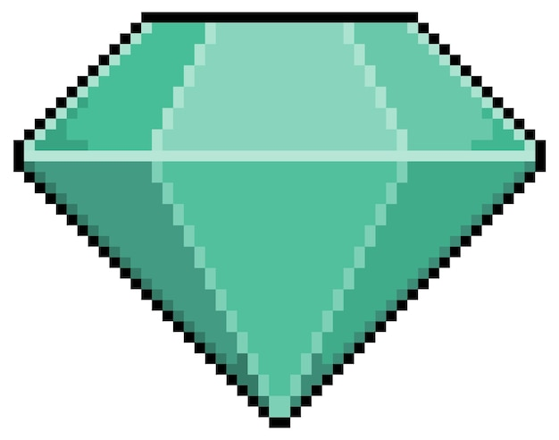 Icône de diamant pixel art pour jeu 8 bits sur fond blanc