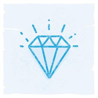 Icône de diamant vintage icône illustration vectorielle doodle
