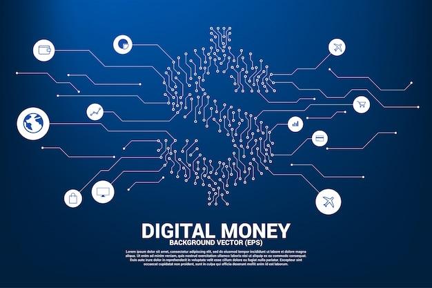 Icône dollar en argent du circuit de la ligne de connexion de points