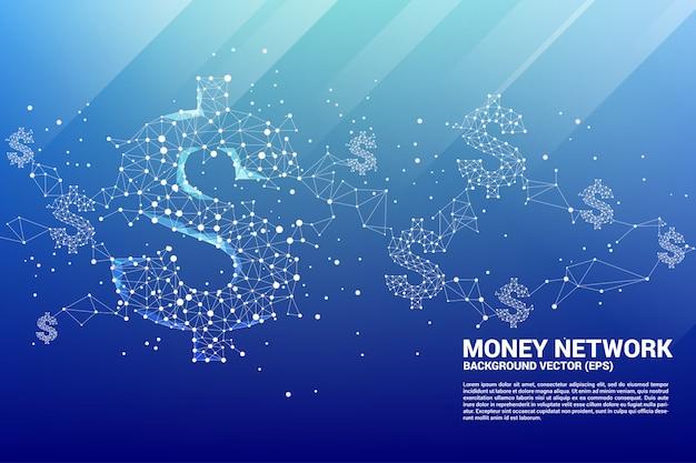 Icône de dollar d'argent vector de la ligne de connexion polygonale