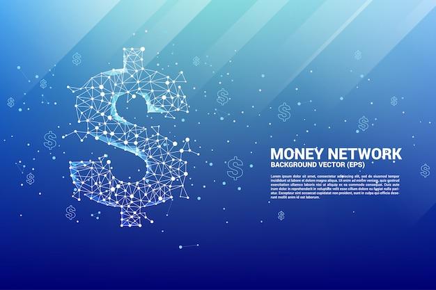 Icône de dollar d'argent vectoriel de la ligne de connexion polygonale