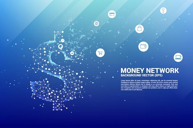 Icône de dollar vecteur argent de la ligne de connexion polygonale.
