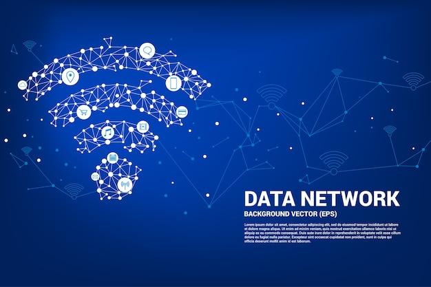 Icône de données mobiles de vecteur polygone. concept de transfert de données de réseaux de données mobiles et wi-fi