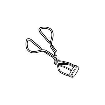 Icône de doodle de contour de bigoudi de cils dessinés à la main de vecteur. illustration de croquis de recourbe-cils pour impression, web, mobile et infographie isolé sur fond blanc.