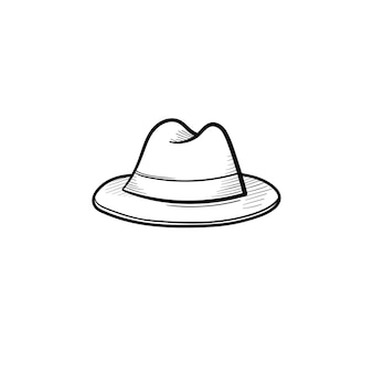 Icône de doodle contour de chapeau fedora dessinés à la main de vecteur. illustration de croquis trilby pour impression, web, mobile et infographie isolé sur fond blanc.