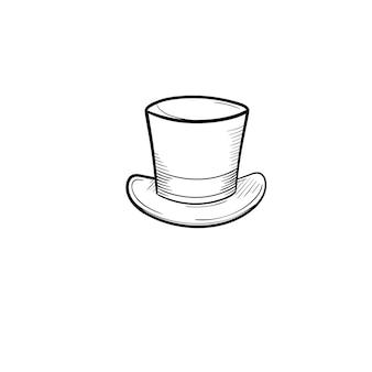 Icône de doodle de contour de chapeau haut de forme dessiné à la main de vecteur. illustration de croquis de cylindre pour impression, web, mobile et infographie isolé sur fond blanc.