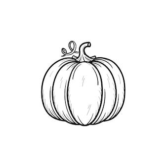 Icône de doodle contour citrouille dessinés à la main de vecteur. illustration de croquis de nourriture pour impression, web, mobile et infographie isolé sur fond blanc.