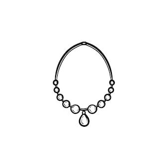 Icône de doodle de contour de collier dessiné à la main de vecteur. illustration de croquis d'accessoires pour impression, web, mobile et infographie isolé sur fond blanc.