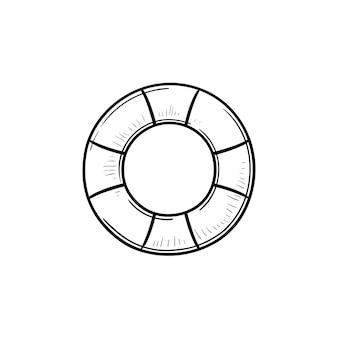 Icône de doodle contour dessiné main anneau en caoutchouc. bouée de sauvetage flottante et vacances en mer, sauveteur et concept de sécurité