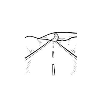 Icône de doodle contour dessiné main autoroute et paysage. avenue et route, destination et concept de voyage