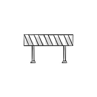 Icône de doodle contour dessiné main barrière routière. illustration de croquis de vecteur de barrière symbolisant les travaux de construction pour l'impression, le web, le mobile et l'infographie isolés sur fond blanc.
