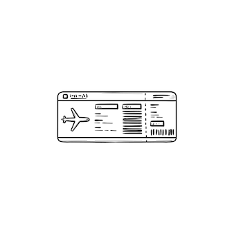 Icône de doodle de contour dessiné à la main de billet d'avion. voyage en avion, carte d'embarquement et aéroport, concept de vol. illustration de croquis de vecteur pour l'impression, le web, le mobile et l'infographie sur fond blanc.