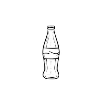 Icône de doodle contour dessiné main boisson gazeuse. bouteille en verre d'illustration de croquis de vecteur de boisson gazeuse pour impression, web, mobile et infographie isolé sur fond blanc.
