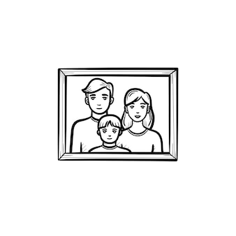 Icône de doodle contour dessiné main cadre photo de famille