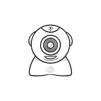 Icône de doodle contour dessiné main caméra web. caméra réseau et chat vidéo web, concept de communication internet