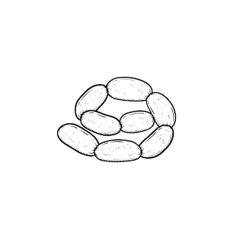 Icône de doodle contour dessiné main chaîne saucisse. illustration de croquis de vecteur de chaîne de saucisses pour impression, web, mobile et infographie isolé sur fond blanc.