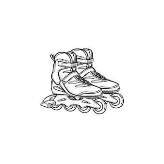 Icône de doodle contour dessiné main chaussures à roulettes. illustration de croquis de vecteur de patins à roulettes pour impression, web, mobile et infographie isolé sur fond blanc.
