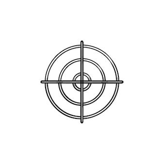 Icône de doodle contour dessiné main cible pistolet. crosshair, mise au point de tir et bullseye, concept de cercle cible