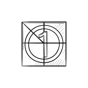 Icône de doodle de contour dessiné à la main de compte à rebours de film